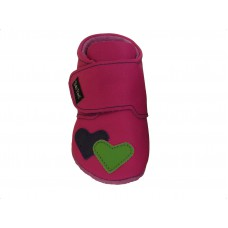 Baby Paws Heather Fuchsia met Lime en Paars hartje