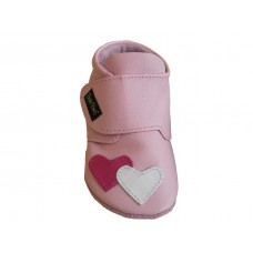 Baby Paws Heather Roze met wit en fuchsia hartje