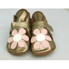 Baby Paws babyslofjes Wrapz gunmetal met bloem